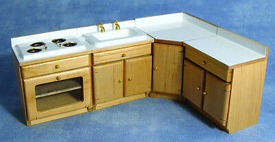 Dolls House Wooden Four Piece Kitchen Furniture Units Set :12th scale Miniature