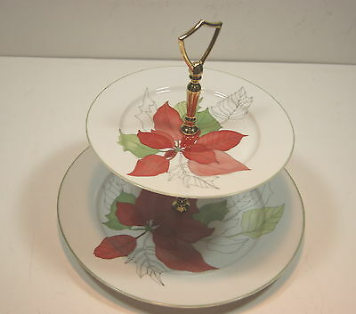 Block Poinsettia 2 Tiered Serving Tray (Dinner & Salad Plate)