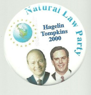 Hagelin, Tompkins Natural Law Party 2000 Third Party Political Pin