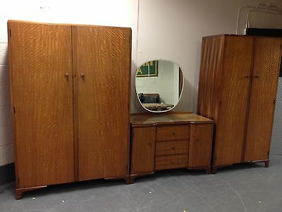 Vintage Robson & Sons 3 Piece Bedroom Suite 2 Wardrobes & Dressing Table