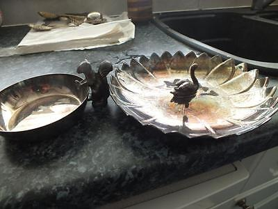 MARKED Reed Barton Silver Plated Swan Nut Dish + VINERS SHEFFIELD Squirrel Bowl