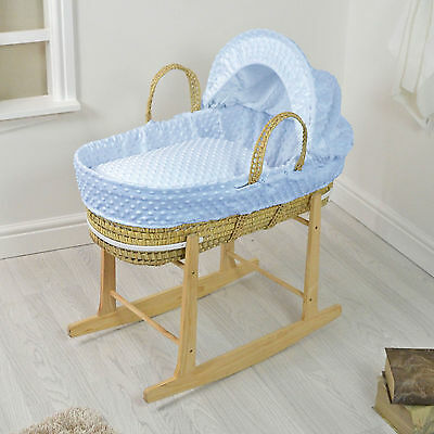 New 4Baby Blue Dimple Natural Palm Baby Boys Moses Basket & Rocking Stand
