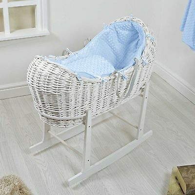 4Baby White Wicker / Blue Dimple Padded Snooze Pod Moses Basket & Rocking Stand