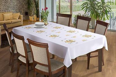 Large Oval Christmas Tablecloth with Santa Pattern Dining Room Table Decorations
