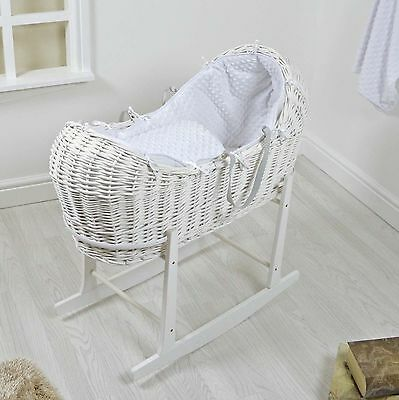 4Baby White Wicker / White Dimple Padded Snooze Pod Moses Basket & Rocking Stand