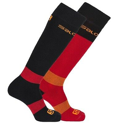Salomon All Round Merino Wool Ski Socks Black and Red TWIN PACK CHOICE OF SIZES