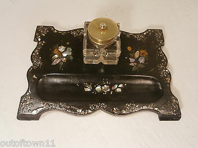 Antique Papier Mache Mother Pearl inlay Desktop Inkwell Stand   ref434