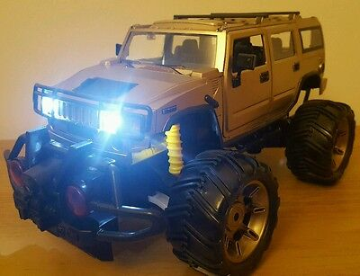 LARGE HUMMER MONSTER TRUCK RECHARGEABLE Radio Remote Control Car FAST SPEED GOLD