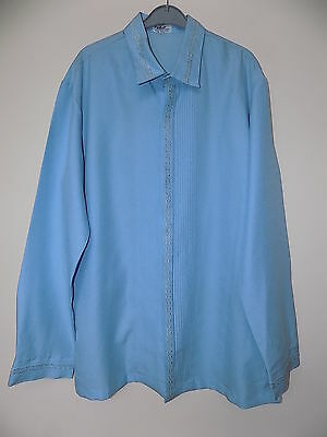 Mens vintage baby blue embroidered  ethnic Tuxedo shirt by Rustans filipiniana