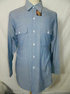 Vtg men's 80s/90s Mens Chambray Shirt by JC Penny, with long sleeves, retro -L-