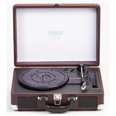 Knox Portable Turntable W/BlueTooth, USB Drive,Built in Speakers Leather Brown