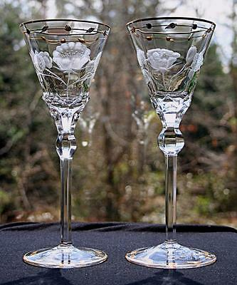 "2 Paula (Orig. ""rose"") 8 Oz Water Goblets By Moser! 24 K Gilded Gold- Rare Find!"
