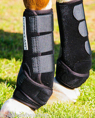 Iconoclast Sports Equine Boots Front Black Med Support Splint Boots Cutting ,etc