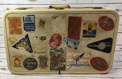 Vintage Aero Pak Deluxe Luggage Suitcase With Travel Destination Stickers Prop
