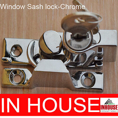 Window Sash Lock, Keyed Alike 2 keys- Chrome
