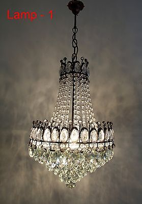 A Pair of Antique French Basket Style Brass & Crystals LARGE Chandeliers from 19
