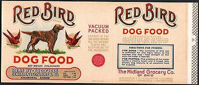 *Original* RED BIRD Dog Food IRISH SETTER Midland Groc OHIO Can Label NOT A COPY
