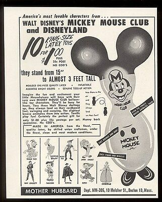1959 Mickey Mouse Club Walt Disney inflatable toy designs vintage print ad