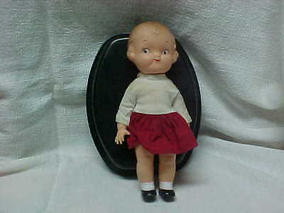 """Campbell Kid Original 8"""" Doll W/ One Piece Top & Red Dress & Painted Socks & Sho"""