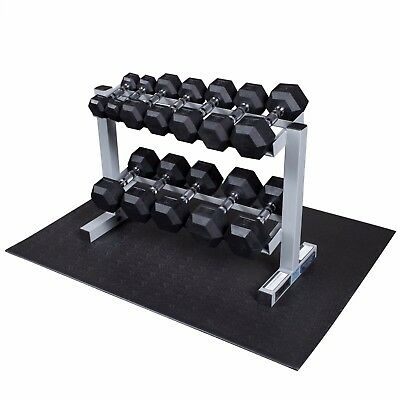 5-30 lb Rubber Coated Hex Dumbbell Set, Rack, Mat - Body-Solid/Powerline PDR282X