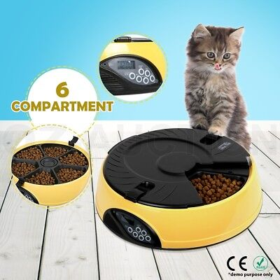 AUTO Pet Dog Feeder Dispenser Food Bowl Cat 6 Meal Automatic Program Digital LCD