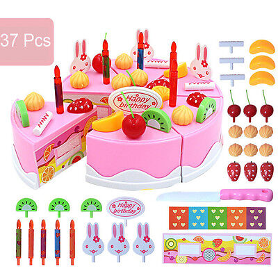 37PCS DIY Cutting Fruit Birthday Cake Food Play Toy Set Kids Boy Girl Children