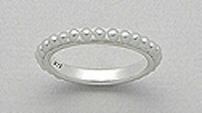 Sterling Silver 3mm THIN Classic Seed Pearl Eternity Wedding Band Ring sz7 1.3g