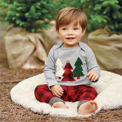 2pcs Kids Baby Boy Girl Christmas Clothes Set Casual T-shirt+Check Pants Outfits
