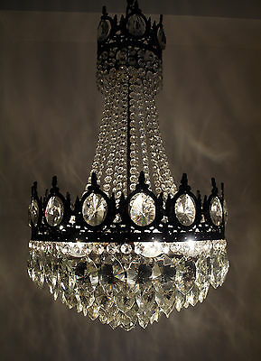 Antique// Vintage French Basket Style Brass & Crystals LARGE Chandelier1950's