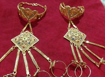 Belly Dance Gold chain 5 Ring hand slave Bracelet set wedding Jewelry Indian