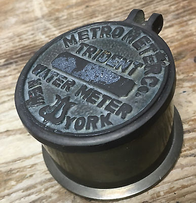 Brass Metro Meter Trident Water New York Hinged Box Inkwell Souvenir Paperweight