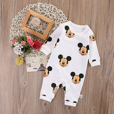 Cotton Newborn Kids Baby Boy Girl Mickey Romper Bodysuit Jumpsuit Clothes Outfit