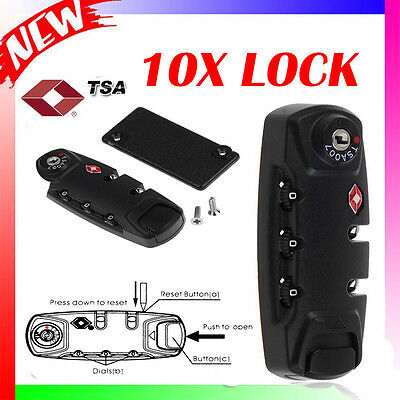10X TSA 3 Dial Digit Combination Luggage Travel Suitcase Password Padlock Lock