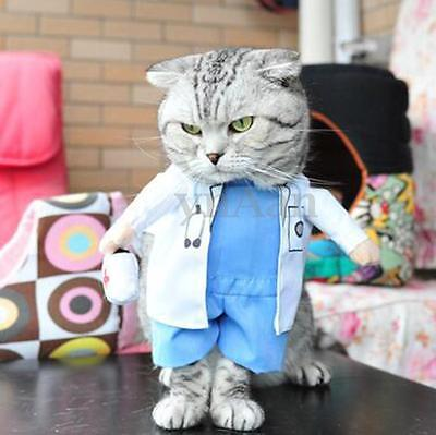 Pet Dog Cat Doctor Costume Apparel Suit Clothes Coat Dress Outfit Christmas Gift