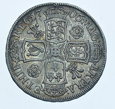 1706 ROSES & PLUMES HALFCROWN BRITISH SILVER COIN FROM ANNE aVF/GVF