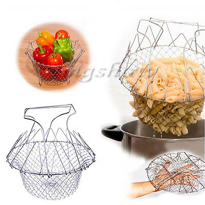 Foldable Steam Rinse Strain Chef Cooking Basket Deep Fry Flat Strainer & Boiling