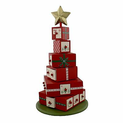Merry & Bright Wooden Tower of Presents Advent Calendar Tree Shaped