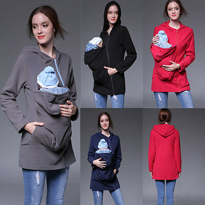 NEW Maternity Polar warm fleece Hoodie Jumper Pullover Babywearing BABY CARRIERS