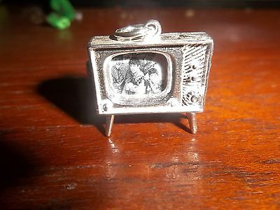 THE BEATLES STERLING SILVER CHARM MODEL1960s TV SET  WITH EARLY PHOTO OF FAB 4