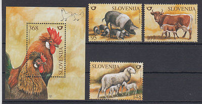 Slovenia fauna-roosters,pigs,cow,sheep 2003 MNH **