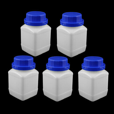 5 Pcs 450ml Plastic Square Wide Mouth Chemical Sample Reagent Bottle Thickening