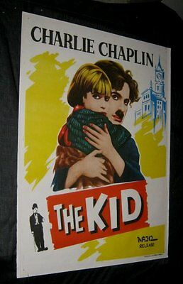 "Original CHARLIE CHAPLIN THE KID India 1 Sheet 29 3/4"" x 39 3/4"" AWESOME ART"