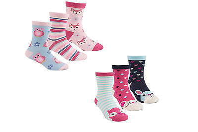 New 3 Pack Childrens Girls Socks Cotton rich Cute Animal Colourful Funky designs