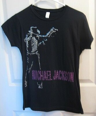 Michael Jackson tribute T Shirt babydoll BLING Bedazzle STUDS Rhinestones size m