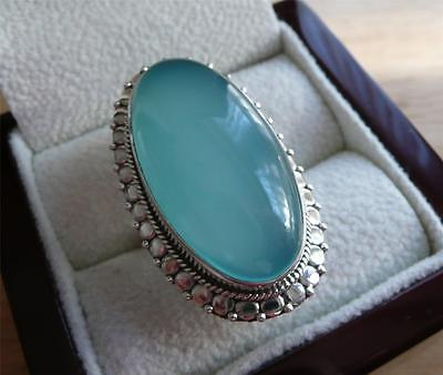 Large Oval Cabochon Blue Chalcedony 925 Sterling Silver Chunky Ring Sz Q 8.5