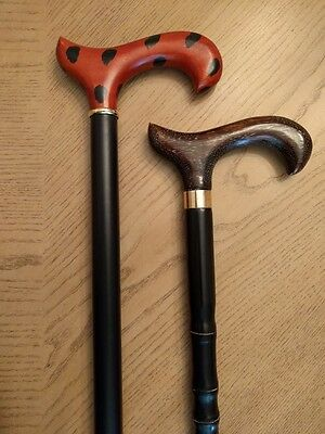 Lot of 2 Men's Derby Handle Wood Walking Canes Carved Brown and Two Tone Black