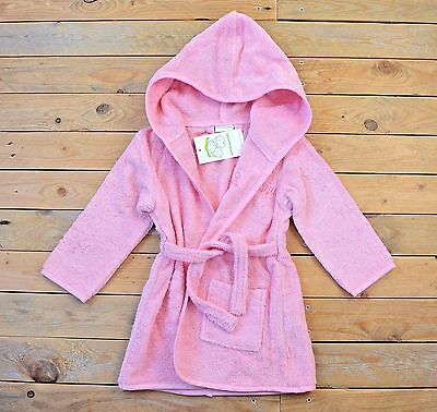 NWT Childrens Boutique Pink 100% Cotton Towel Style Belted Bathrobe Age 3 Years