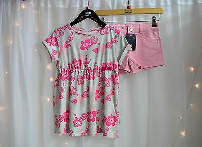 NWT Girls Boutique Outfit Pretty Patter Top & Baby Pink Shorts Set  Age 8 Years