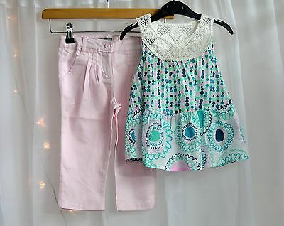 NWT Girls Boutique Outfit Light White Pattern Top & Pink Trousers Age 4-5 Years
