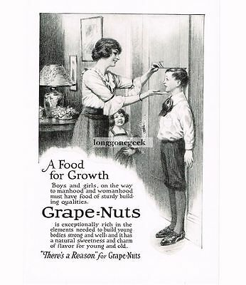 1921 Grape-Nuts Cereal Mother Measuring Boys Height Vtg Print Ad